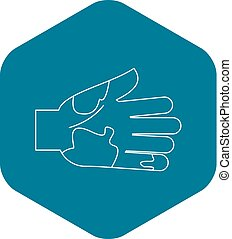 Dirty hand icon, outline style