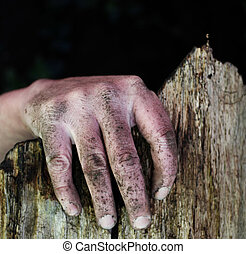 Dirty hand of a man on the edge of a broken fence