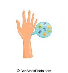 Dirty hands, bacteria and virus cells on human palm, prevention of infectious diseases, health care and sanitation vector Illustration