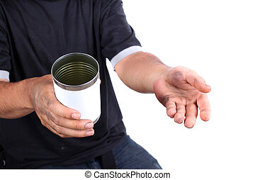 Dirty hands begging for money