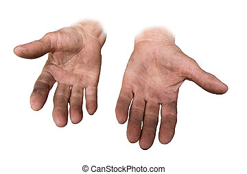 dirty hands of her grandmother on a white background