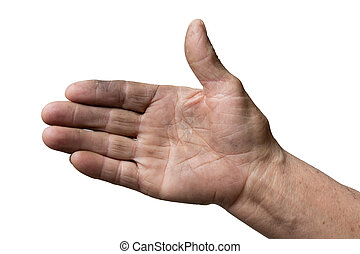 dirty hands of the old man on a white background