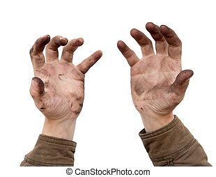 dirty hands on a white background