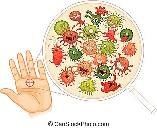 Dirty hands. Wash your hands before you eat! Vector...
