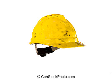 Dirty hardhat isolated on white - A dirty yellow hard hat ...