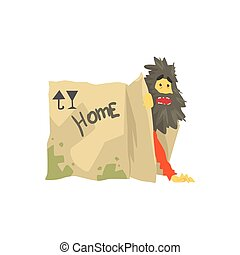 Dirty homeless man character living in in cardboard box with...