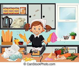 Dirty kitchen scene with housekeeper illustration