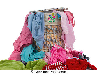 A hamper full of dirty laundry. The never ending chore