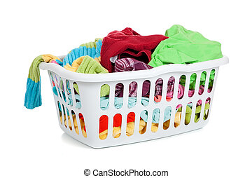 A white basket full of dirty laundry on a white background