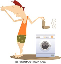 Dirty laundry - Man holds his nose and going to wash dirty...