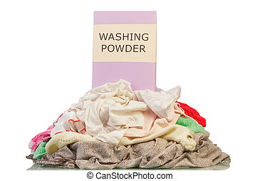 Dirty laundry isolated - Dirty laundry and washing powder...