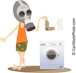 Dirty laundry, man in the gas mask and washing machine...