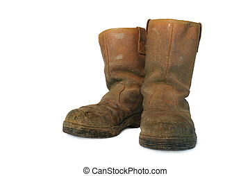 Dirty Leather Builders Boots - Pair of dirty brown leather ...