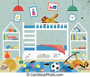 Dirty messy childrens room with scattered things flat vector illustration.