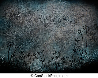 dirty metal background with flowers