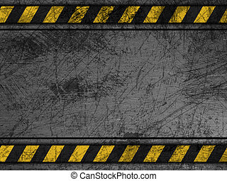 Dirty metal texture with yellow stripes