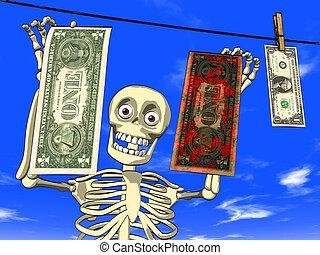 Dirty money - Illustration - cartoon of human body skeleton ...