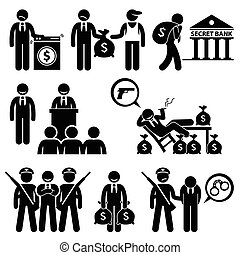 Dirty Money Laundering Politic - Human pictogram concept...