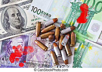 dirty money - criminal money, few bullets on money dollars,...