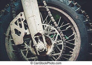 Dirty Motocross Bike Wheel