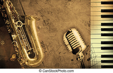 dirty music background with piano and sepia