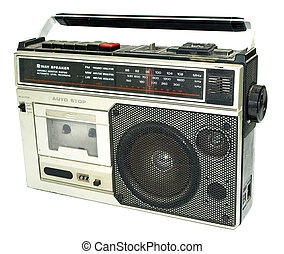 Dirty old 1980s style cassette player radio against a white ...