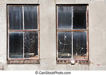 Dirty old broken windows