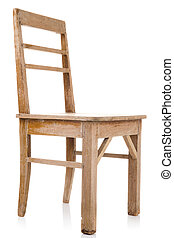 dirty old wooden chair isolated on white