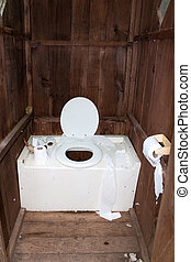 Dirty Outhouse - Interior of a dirty and disgusting outhouse...