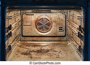 Dirty open oven - messy kitchen, Compulsive Hoarding Syndrom