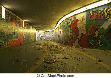 dirty pedestrian underpass