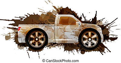 Dirty pickup with big wheels
