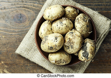 dirty potatoes in a plate