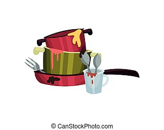 Dirty pots in a frying pan. Vector illustration on white background.