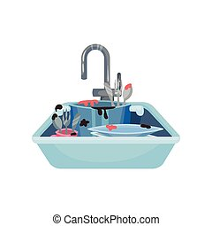 Dirty pots, mugs and cutlery in the sink. Vector illustration on white background.