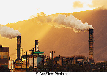 Dirty Power Plant Polluting Carbon into Atmosphere