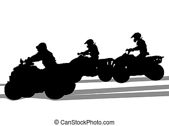 Dirty races - Silhouettes athletes ATV during races