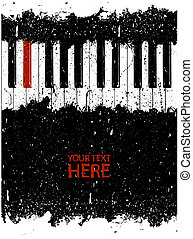Dirty red piano key