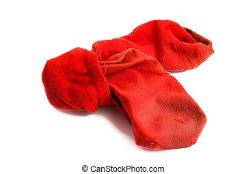 Dirty red socks isolated on white background