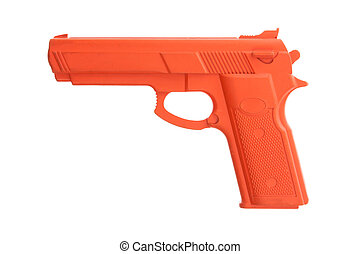 Dirty red training gun isolated on white, law enforcement