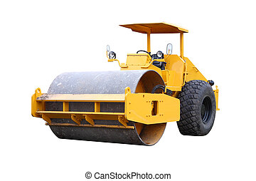 Dirty road roller on white background.