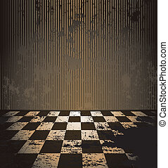 Dirty room with checkered floor
