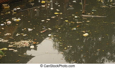 Dirty sewer in Manila city Philippines. - Dirty sewer in...