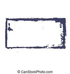 Dirty stamp - Dirty blue rectangular stamp imprint on a...