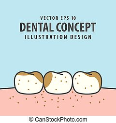 Dirty teeth illustration vector on blue background. Dental concept.