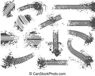Dirty tire tracks. Grunge motor race track, wheel tires protector pattern and dirt wheels imprint texture vector illustration set