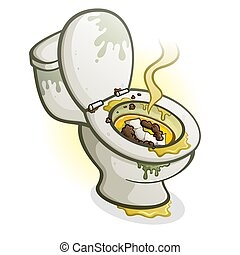 Dirty Toilet Cartoon Illustration - A filthy disgusting...