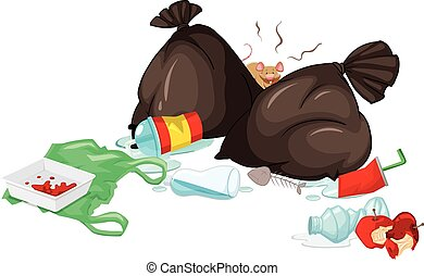 Dirty trash bags and rotten food on the floor illustration