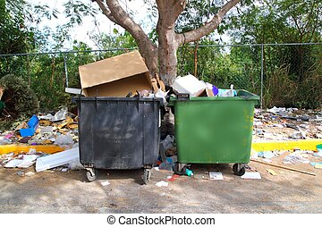 dirty trash containers messy dirt everywhere