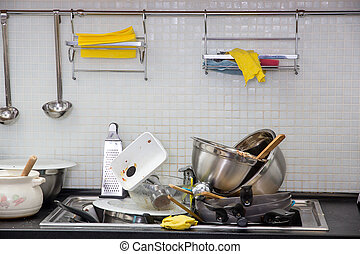 Dirty utensil on the kitchen - Heap of dirty utensil on the...